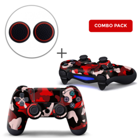 Army Camo Rood Zwart Skins Grips Bundel - PS4 Controller Skins