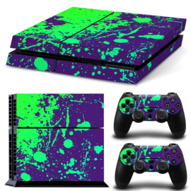 Paint Splatters / Green with Purple - PS4 Console Skins