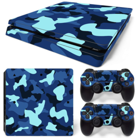 Army Camo Blue Black - PS4 Slim Console Skins