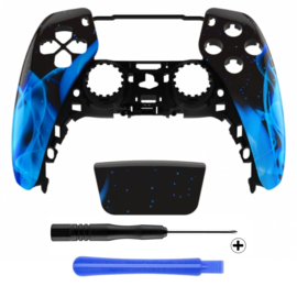 PS5 Controller Behuizing Shell - Blue Flames - Front Shell