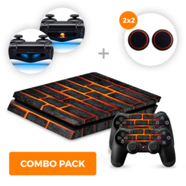 Lava Brick Skins Bundel - PS4 Slim Combo Packs