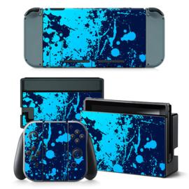 Verfspetters / Blauw met Lichtblauw - Nintendo Switch Skins