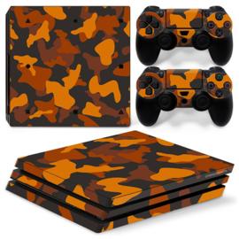 Army Camo Oranje Zwart - PS4 Pro Console Skins