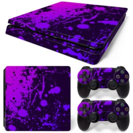 Splatter / Black with Purple - PS4 Slim Console Skins