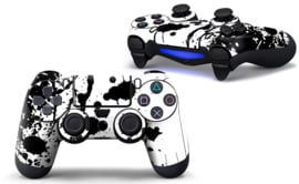 Paint Splatters / White with Black - PS4 Controller Skins