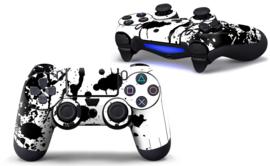 Verfspetters / Wit met Zwart  - PS4 Controller Skins