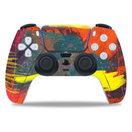 PS5 Controller Skins - Grunge Neon Yellow / Orange