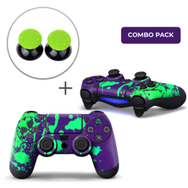 Paint Splatters / Purple with Green Skins Grips Bundle - PS4 Controller Combo Packs