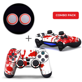Paint Splatters / White with Red Skins Grips Bundle - PS4 Controller Combo Packs