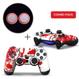 Verfspetters / Wit met Rood Skins Grips Bundel - PS4 Controller Combo Packs
