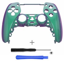 PS5 Controller Behuizing Shell - Groen / Paars Metallic - Front Shell
