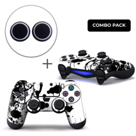 Verfspetters / Wit met Zwart Skins Grips Bundel - PS4 Controller Combo Packs
