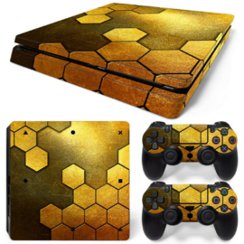Steel Gold - PS4 Slim Console Skins