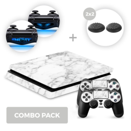 Marble White Skins Bundel - PS4 Slim Combo Packs