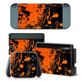 Verfspetters / Zwart met Oranje - Nintendo Switch Skins