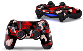 Army Camo Rood Zwart - PS4 Controller Skins