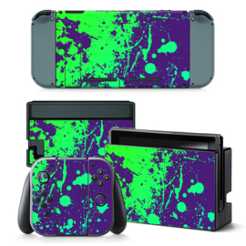 Paint Splatter Purple with Green - Nintendo Switch Skins