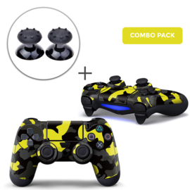 Army Camo / Yellow Black Skins Grips Bundel - PS4 Controller Skins