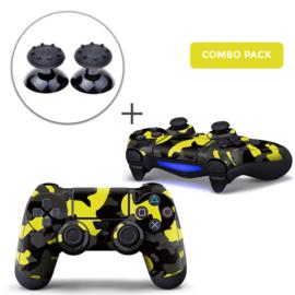 Army Camo Geel Zwart Skins Grips Bundel - PS4 Controller Skins