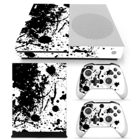 Paint Splatters / White with Black - Xbox One S Console Skins