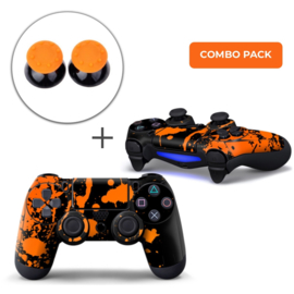 Paint Splatters / Black with Orange Skins Grips Bundle - PS4 Controller Combo Packs