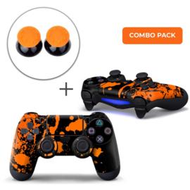 Verfspetters / Zwart met Oranje Skins Grips Bundel - PS4 Controller Combo Packs