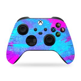 Xbox Series Controller Skins - Grunge Neon Paars Lichtblauw