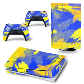 PS5 Console Skins - Grunge Neon Blue / Yellow
