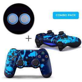 Verfspetters / Blauw met Lichtblauw Skins Grips Bundel - PS4 Controller Combo Packs