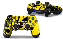 Paint Splatters / Black with Yellow  - PS4 Controller Skins