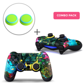 Color Splash Skins Grips Bundle - PS4 Controller Combo Packs