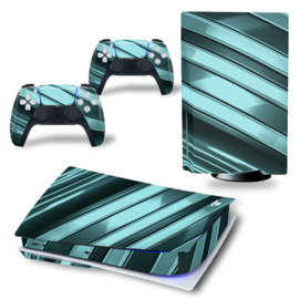 PS5 Console Skins - Metal Twirl Grey / Green