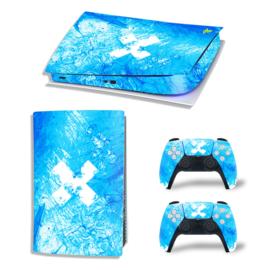 PS5 Console Skins - Liquid Grunge Blauw / Hemelsblauw
