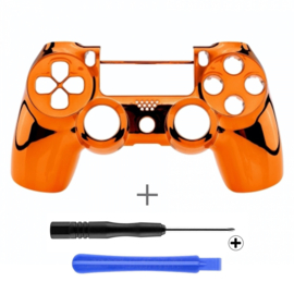 PS4 Controller Behuizing Shell - Chrome Oranje (GEN 4, 5) - Front Shell