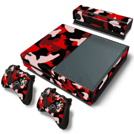 Army Camo Rood Zwart - Xbox One Console Skins