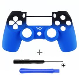 PS4 Controller Behuizing Shell - Gradient Soft Touch Zwart / Blauw (GEN 4, 5) - Front Shell