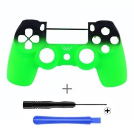 PS4 Controller Behuizing Shell - Gradient Soft Touch Zwart / Neon Groen (GEN 4, 5) - Front Shell