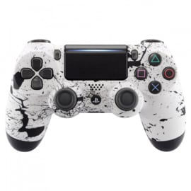 Soft Touch Wit met Zwarte Spetters - Custom PS4 Controllers V2