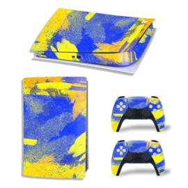 PS5 Console Skins - Grunge Neon Blauw / Geel