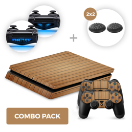 Wood Brown Skins Bundel - PS4 Slim Combo Packs