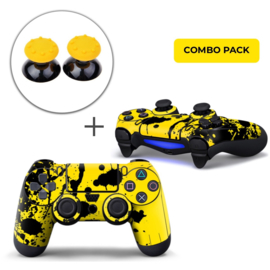 Paint Splatters / Black with Yellow Skins Grips Bundle - PS4 Controller Combo Packs