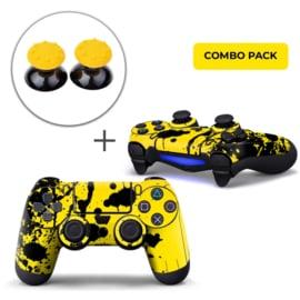 Verfspetters / Zwart met Geel Skins Grips Bundel - PS4 Controller Combo Packs