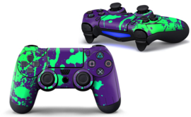 Paint Splatters / Purple with Green - PS4 Controller Skins
