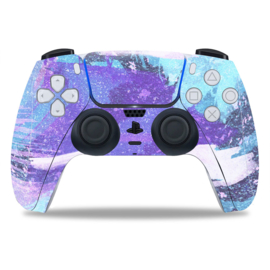 PS5 Controller Skins - Grunge Neon Light Blue / Violet