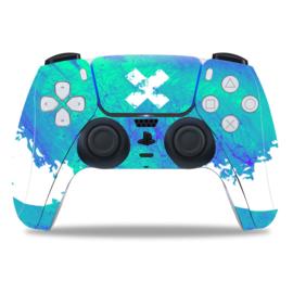PS5 Controller Skins - Liquid Grunge Blauw / Groen