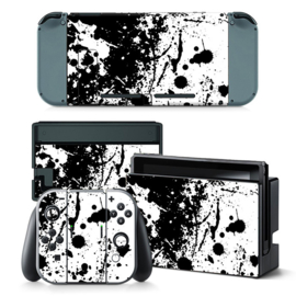 Paint Splatter White with Black - Nintendo Switch Skins