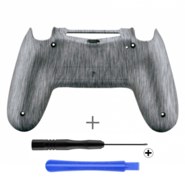 PS4 Controller Behuizing Shell - Brushed Zilver (GEN 4, 5) - Back Shell