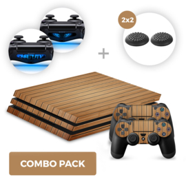 Wood Brown Skins Bundel - PS4 Pro Combo Packs