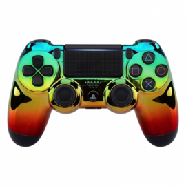 Chrome Groen / Goud / Rood - Custom PlayStation PS4 Wireless Dualshock 4 V2 Controller