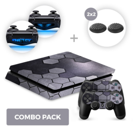 Steel Silver Skins Bundel - PS4 Slim Combo Packs